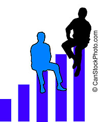 Top of the chart - Figures sitting on top of a bar graph...