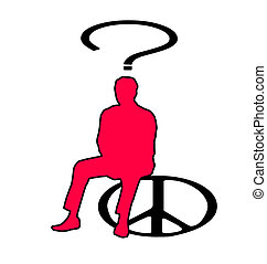 many questions - Illustration of man sitting on a peace sign...