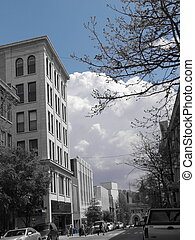 Downtown Asheville III - The city of Asheville in black and...