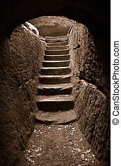 Cave exit 3 - Stairs at the end of a cavemore in my...