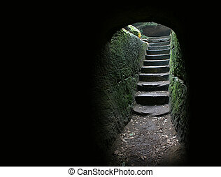 Cave exit 1 - Stairs at the end of a cave...more in my...