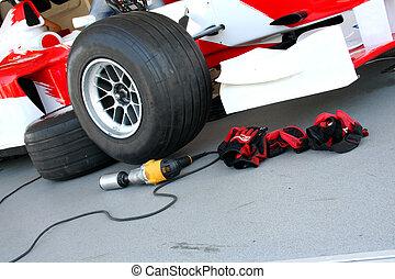 Formula-1 pit-stop - Formula-1 racing pit-stop devices
