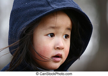 cute child - close up of child with winter hat