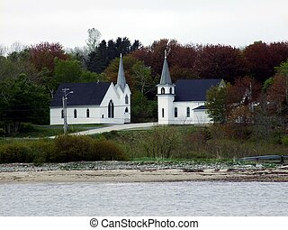 Two churches in Broadcove Lunenburg County Nova Scotia...