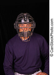 Baseball Catcher - Baseball catcher wearing face mask with...