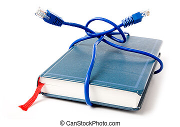 Network cable and book, concept of online education