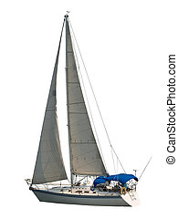 Isolated Sailboat - Sailboat under full sail with blue...