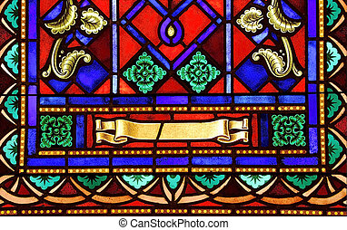 Stained Glass Detail - Close-up of the details in a stained...