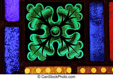 Stained Glass Details - Close-up of the details in a stained...