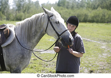 melanie with a white hors - taken in chelmsford ontario