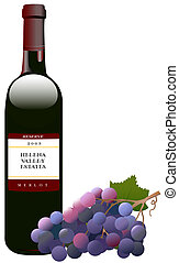 Red Wine Bottle and Grapes - Bottle of red wine, Bordeaux...