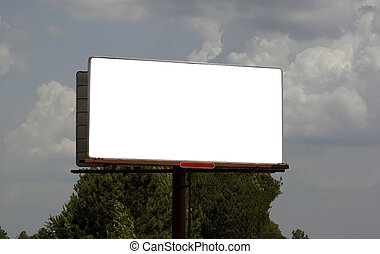 Blank Billboard - Blank billboard against a cloudy sky....
