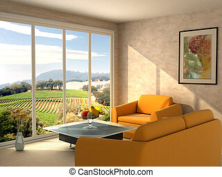 Room with a view - Picture on the wall and view from the...