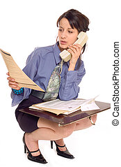 Business woman and phone - Business woman is using phone and...