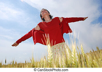 Freedom - Young woman open hers arms just like trying to fly...