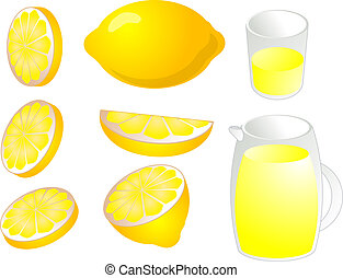Lemons illustration - Illustration of lemons in various cuts...