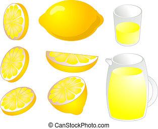 Lemons illustration - Illustration of lemons in various cuts...