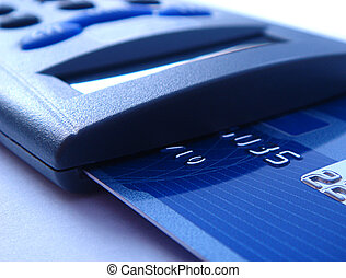bankcard reader - close-up of a bankcard reader for...