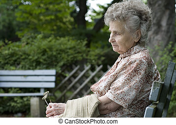 elderly woman  - portrait of the elderly woman outdoors
