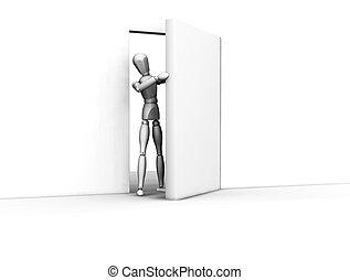 Open door - 3D render of someone coming through an open door