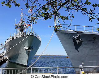 Two warships 60921 - The warship Halifax, left, and the WW...