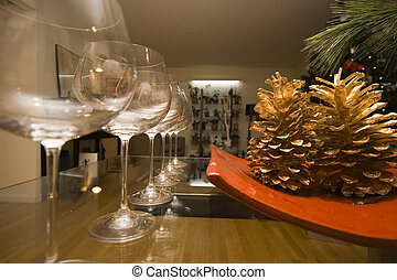 Holiday preparations - Christmas decorations and wine...