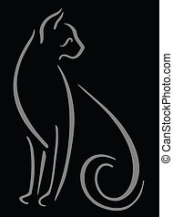 Cat on black - Grey brush stroke cat on black background