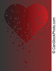 Crumbling Heart - Red and black crumbling heart on gradient...