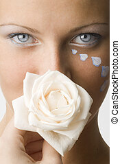 mouth or rose - nice portrait of a cute brunette with a...