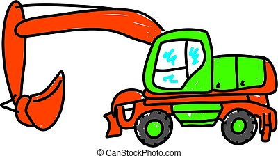 digger isolated on white drawn in toddler art style