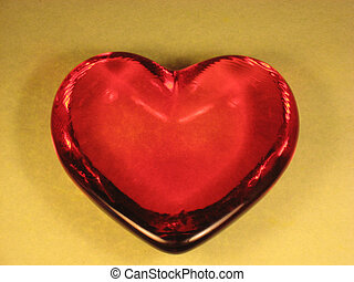 Red glass heart shaped paperweight - Red glass heart shaped...