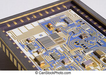 Hybrid Module - Close up view of a hybrid circuit showing...
