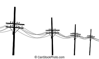 Telegraph poles - Illustration of a line of utility poles in...
