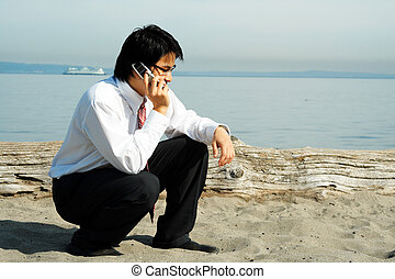 Talking businessman - A businessman talking on the cell...