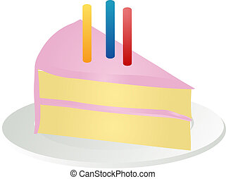 Slice of birthday cake - Slice of birthay cake with pink...