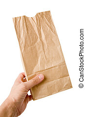 brown paper bag - holding a brown paper bag