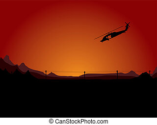 night assult - Illustration of a helicopter on night patrol...
