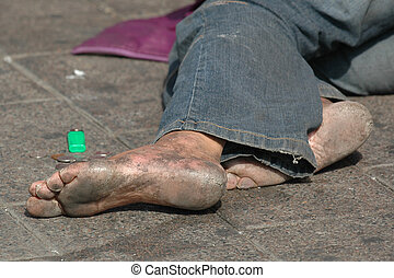 Homeless with bare feet