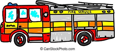 fire engine isolated on white drawn in toddler art style