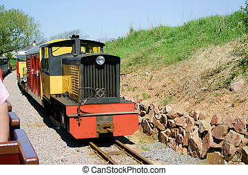 narrow gauge passenger trains passing each other