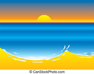 beach sunset - Hot sunny day with the sun setting over the...