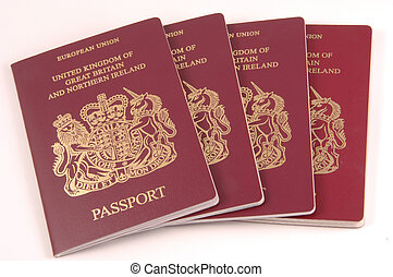United Kingdom Passports - Four United Kingdom, England,...