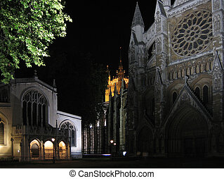 London - Westminster Abbey by night - London - Westimnster...
