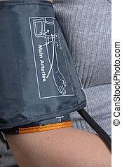 Blood pressure cuff - close up of a blood pressure cuff...