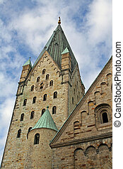 cathedral, paderborn, - clocktower of the cathedral in...