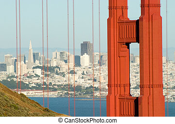 Golden Gate and city - The Bridge can be a very busy place,...