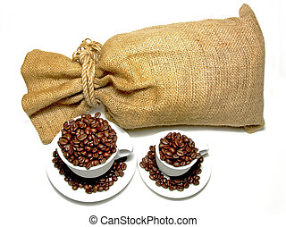Coffee sack - Sack and two cups with fresh coffee