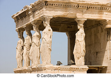 Female statues serve as columns on Porch of the Caryatids on...