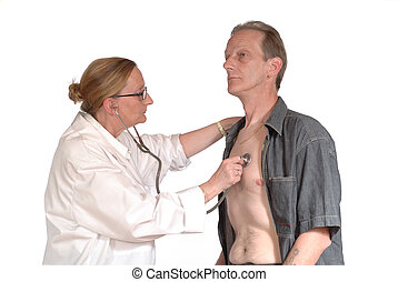 physical exam, doctor - Middle aged attractive female doctor...