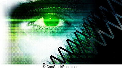 Internet - Eye detail. Illustrated & colored internet...